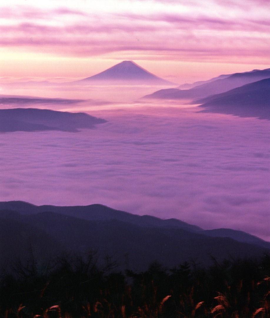 Japan Takabocchi Kogen (Nagano Prefecture) Mt. Fuji over Lake Suwa