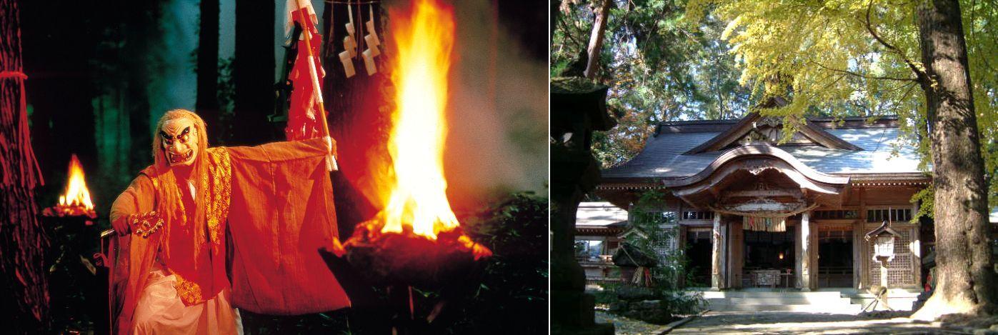 Enjoy traditional performance arts after a stroll around Takachiho! Takachiho Shrine's Yokagura Dances Yokagura