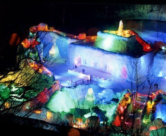 """""""Sounkyo Onsen Hot Spring's Hyobaku Matsuri (ice fall festival)""""."""